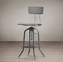 Vintage Toledo Bar Chair Grey Enamel
