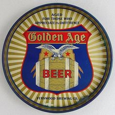Vintage Beer Tray - Golden Age Beer - Fernwood Brewing Co - 1930s