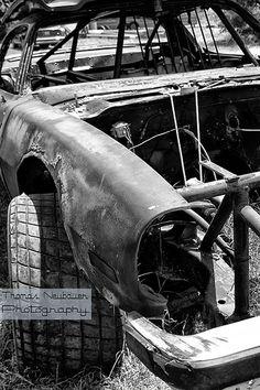 abandoned race car