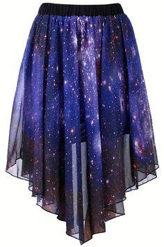 Starry Night Asymmetric Skirt original:$34.99 current:$23.66 SAVE:32% OFF OMZEEEEE #ROMWE
