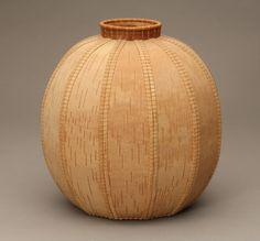 Donna Look | Basket.  White birch, bark, waxed linen, silk