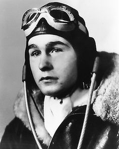 Navy pilot George H.W. Bush, 1942.  Before going to college, Bush signed up to join the navy and fight in World War II. He rose to the level of lieutenant. He was a navy pilot flying 58 combat missions in the Pacific. He was injured bailing out of his burning aircraft during a mission and was rescued by a submarine.