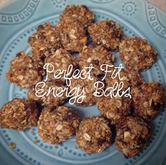 Perfect Fit Energy Balls shared by becks_tonesitup! 1 cup old fashioned oats, 1 cup unsweetened coconut flakes, 1/2 cup chunky natural peanut butter, 1/2 cup carob chips, 1/3 cup honey, 1 tsp vanilla, 1/2 cup flax seed, and 1 scoop chocolate Perfect Fit Protein. Mix all ingredients together, roll into balls and refrigerate.