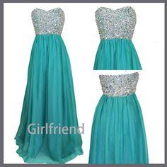 Sweetheart Long Chiffon Prom Dresses / Homecoming Dress
