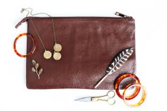 Aria Mahogany Leather Portfolio & clutch $56