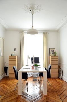 Herringbone wood floors in Paris apartment