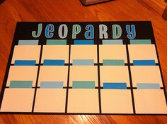 Simple jeopardy board! Can be used last minute. This would be good for review