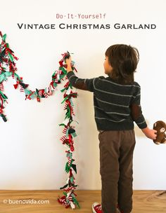 Christmas garland-  cut 6 inch strips of ribbon, tie a single knot on study twine and ta-da! Cute garland in whatever color scheme you want.