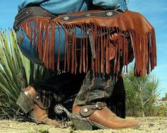 Leather chinks, boots, and spurs