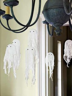 Halloween Craft Ideas for Kids - Halloween Craft Projects - Country Living - cheesecloth ghosts