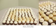 A much better picture of Anthony and Nicole's wedding cupcakes arranged in a monogram!   photo credit Ava Moore Photography #WeddingCupcakes #CupcakeDownSouth #CharlestonSCweddings
