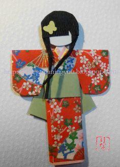 Muñecas japonesas de papel: Instrucciones muñecas número 05