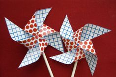 summer craft idea, craft, fourth of july, pinwheels, 4th of july, juli, printabl, cupcake toppers, parti