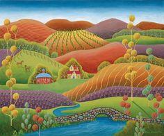 Love Ellen Eiler's artwork!  Whimsical folk art with a more modern feel and an abundance of cheerful, bright color.