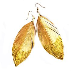 Glitter Gold Dipped - Faux Leather Feather Earrings from lovesexton on Etsy.  I want.