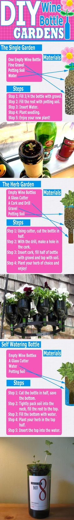 wines, idea, craft, diy wine, wine bottle gardening, bottl garden, gardens, wine bottles, bottl planter
