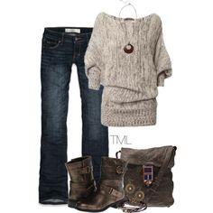 Cozy sweater. Distressed accessories. Dark denim.