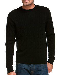 Peter Millar Black Cable-Knit Crewneck Sweater
