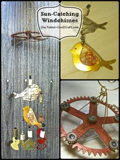 Sun-Catching Bird Windchimes by Lisa Fulmer featuring Spellbinders Media Mixáge. Featured on www.cool2craft.com #diycraft