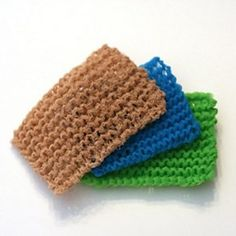These are knit with strips of tulle or netting.  Easy Knit Sponge | AllFreeKnitting.com