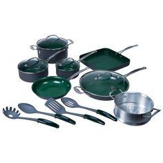 kitchens, nonstick cookwar, 16piec nonstick, sticks, kitchen dining, cookwar set, 8016pcg 16piec, design, orgreen 8016pcg
