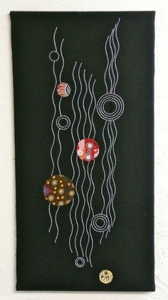 Threaded Pathways #1, designed by Suzanne Howie, from a series of four panels. Contemporary Sashiko and Applique wall hanging that draws on an Indigenous theme. indigoniche.com