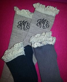 Monogrammed Boot Socks Lace Top by SassyPantsEmbroidery on Etsy, $21.00 Sock Lace, Monogram Boot, Lace Top, Monogrammed Boot Socks