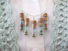 bottl, charms, folk, pendant, diy necklace