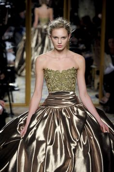 Marchesa Fall 2012 Gold Embroidered  Ball Gown in Gold