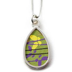 Washi Paper Necklace-Small Teardrop $52.00