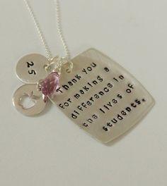 Teacher Retirement Gift Teacher Necklace by whiteliliedesigns, $59.00