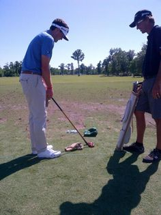 Keegan Bradley checked out an old-fashioned wood. (photo from Cleveland Golf)