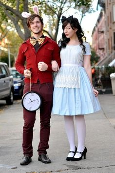 Alice and the White Rabbit. Don't be late for the very important date of October 31! Needed: Baby blue dress, white apron, white tights, black shoes, black bow for hair, maroon pants and sweater, yellow bow-tie, wall clock on a gold chain and bunny ears. #halloween #couplescostumes