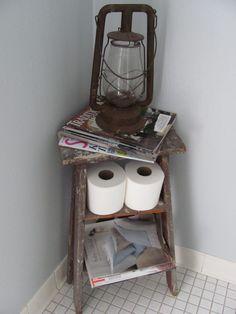 old ladder turned magazine rack
