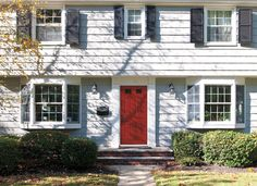 Red doors can spice up your home front. Explore Encompass by Pella entry doors in your choice of fiberglass or steel and an array of finishes. #red door