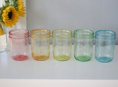 DIY: Tinted Mason Jars in Rainbow