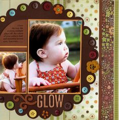 2 photo layout w buttons photo layouts, scrapbook layouts, circl, paper, scrapbook idea, scallop, scrapbooking with buttons, glow, scrapbook pages