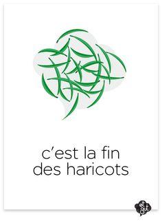 """expression française : Au siècle dernier, on distribuait dans les internats des haricots aux élèves, quand on ne savait plus quoi leur donner en guise de nourriture. En effet, le haricot était considéré comme un aliment de base, voire médiocre. Quand il n'y avait même plus de haricots à manger, c'était la fin de tout. C'est de là que provient l'expression """"C'est la fin des haricots"""" que l'on emploie quand on veut signifier que """"c'est la fin du monde"""", souvent de façon ironique."""