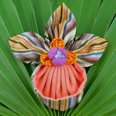 Fabric Flower Tutorial Pattern - Slipper Orchid Brooch © by La Todera