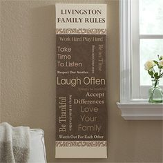 """Family Rules Personalized Canvas Print- 12"""" x 36"""""""
