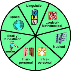 Howard Gardner's  Multiple Intelligences. Naturalist is left out of this pie chart.