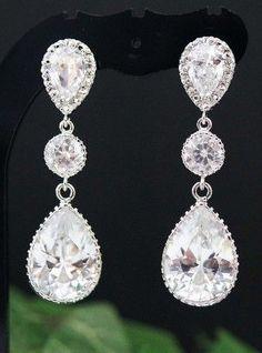 Cubic Zirconia Crystal drop Bridal Earrings Bridesmaid Earrings