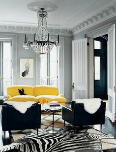 wall colors, grey walls, living rooms, rug, design interiors, zebra, live room, jenna lyon, black