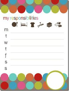 31 responsibility chart printable more parents charts printables ...