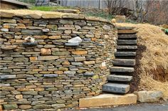 What stunning, old-world craftsmanship. Floating Pennsylvania bluestone steps were incorporated into this dry-laid stone wall. This attention to detail and natural coloration would go beautifully in the landscape of a Craftsman home. By Rockin Walls in Hampstead, MD.