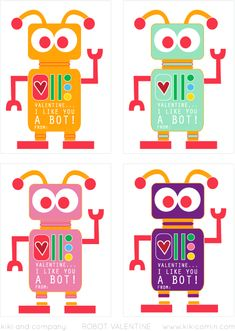 Free Robot Valentine. 4 colors. So cute for Valentines!#valentines