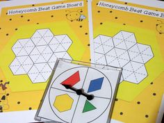 Honeycomb Beat Game - Use the pattern block spinner and cover the board using the shapes you spin - First person to cover board wins. Part of the Problem Solving Activities for Pattern Blocks K-2 packet.
