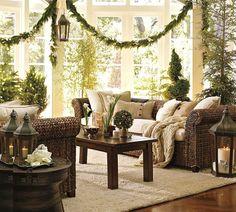 interior, living rooms, green christmas, christmas decorations, christmas decorating ideas, garland, pottery barn, sunroom, the holiday