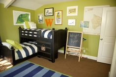 love this shade of green paint... also note the low bunk beds