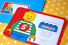 Lego Themed 5th Birthday Party themed birthday parties, birthday party invitations, party themes, lego parti, birthday invitations, 5th birthday, lego birthday, kid birthdays, kid birthday parties